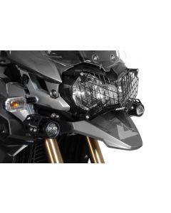 Scheinwerferschutz Edelstahl schwarz mit Schnellverschluss Triumph Tiger 800/ 800XC/ 800XCx und Tiger Explorer *OFFROAD USE ONLY*