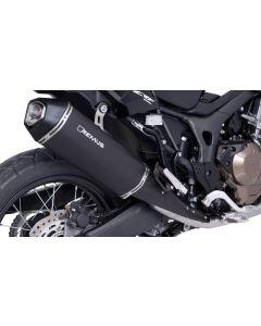 Endschalldämpfer Remus Okami Edelstahl, schwarz für Honda CRF1000L Africa Twin 2017, slip-on mit ABE